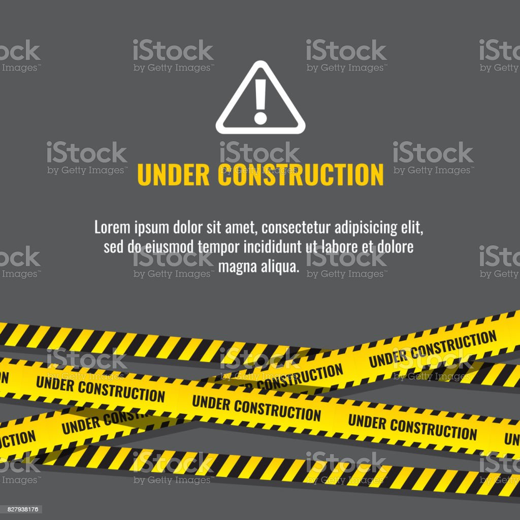 Under construction website page with black and yellow striped borders vector illustration vector art illustration