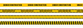 istock Under construction yellow ribbon tape. Vector isolated elements. Safety sign. Cauntion and danger ribbon. Stock vector. 1285353472