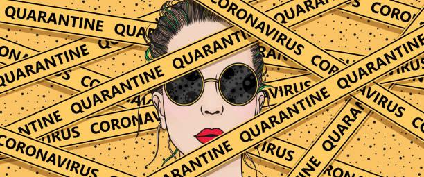 illustrazioni stock, clip art, cartoni animati e icone di tendenza di under quarantine - lockdown