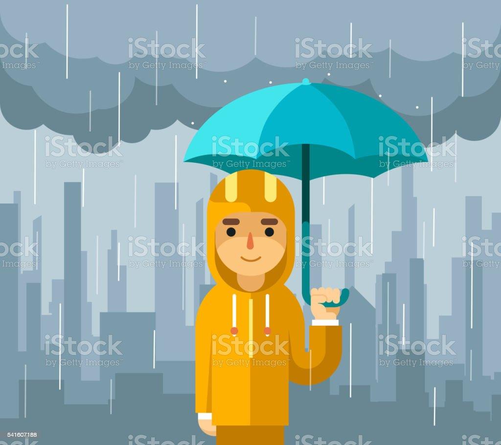 Under rain with umbrella. Man vector illustration vector art illustration