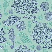 Vector illustration of a aquatic scene seamless pattern.