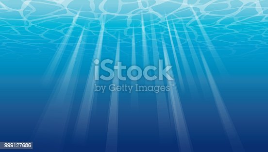 Vector Illustration of a beautiful deep colourful ocean with ripples and reflections from the waves above, point of view of a under sea surface.