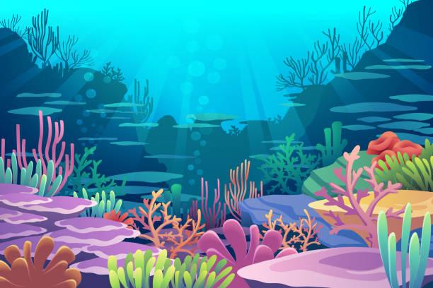 Under Sea View Under Sea View vector eps10 sea stock illustrations