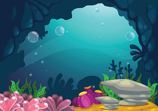 Royalty free drawing of the underwater ocean scene clip art under the sea background vector vector art illustration voltagebd Gallery