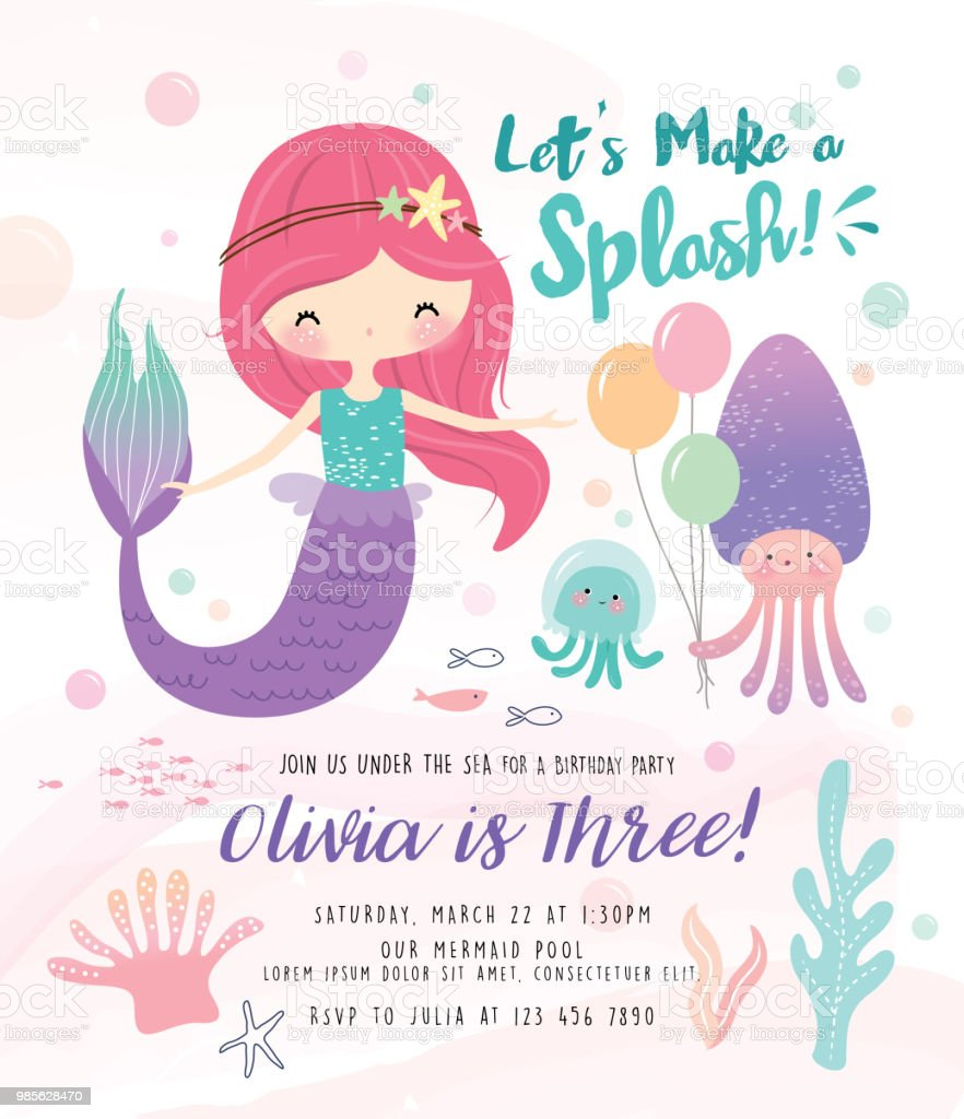 Under The Sea Birthday Party Invitation Card Stock Vector Art & More ...