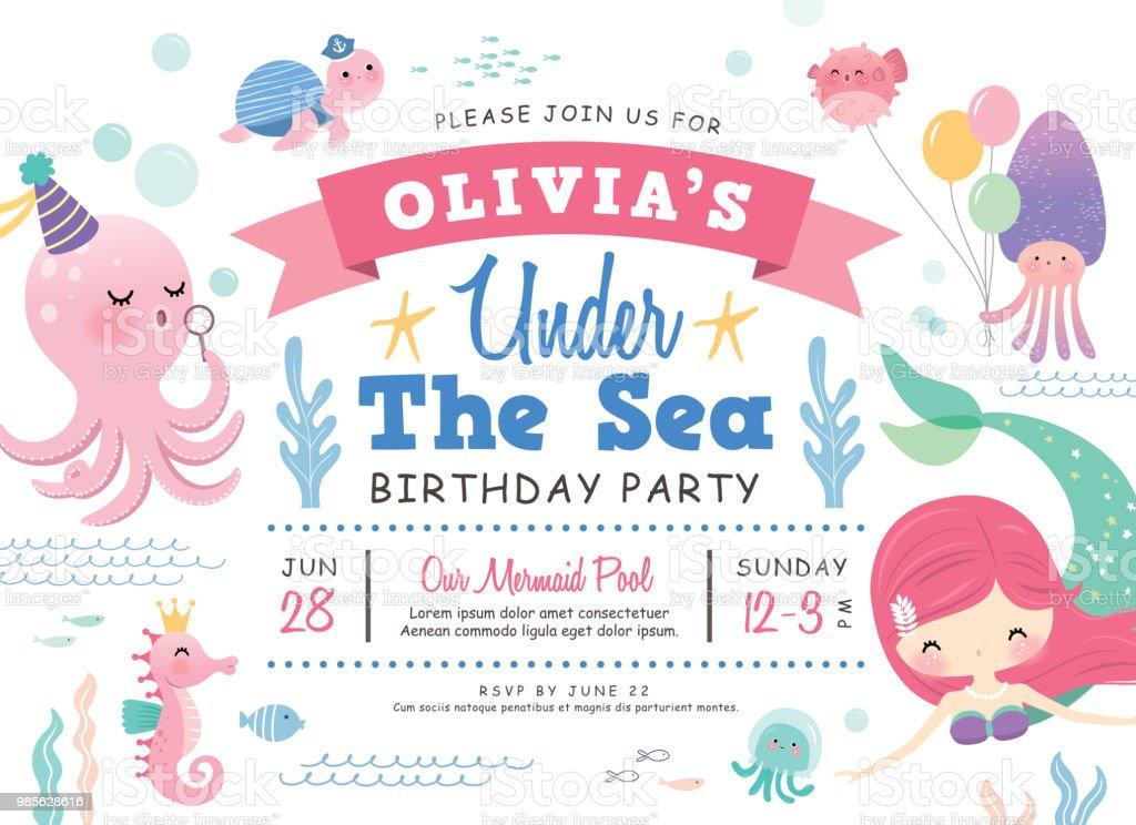 under the sea birthday party invitation card stock vector art more