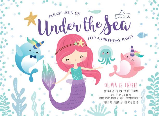 Under the sea birthday party invitation card Kids birthday party invitation card with cute little mermaid and marine life undersea stock illustrations