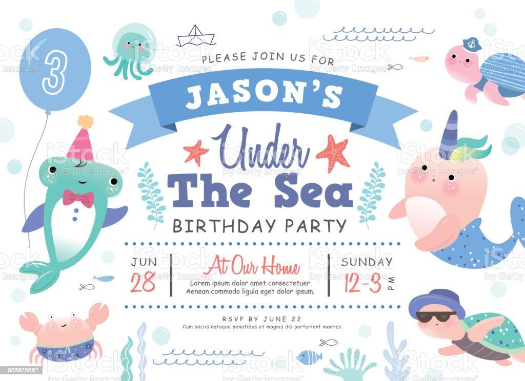Under The Sea Birthday Party Invitation Card Stock Vector Art & More ...