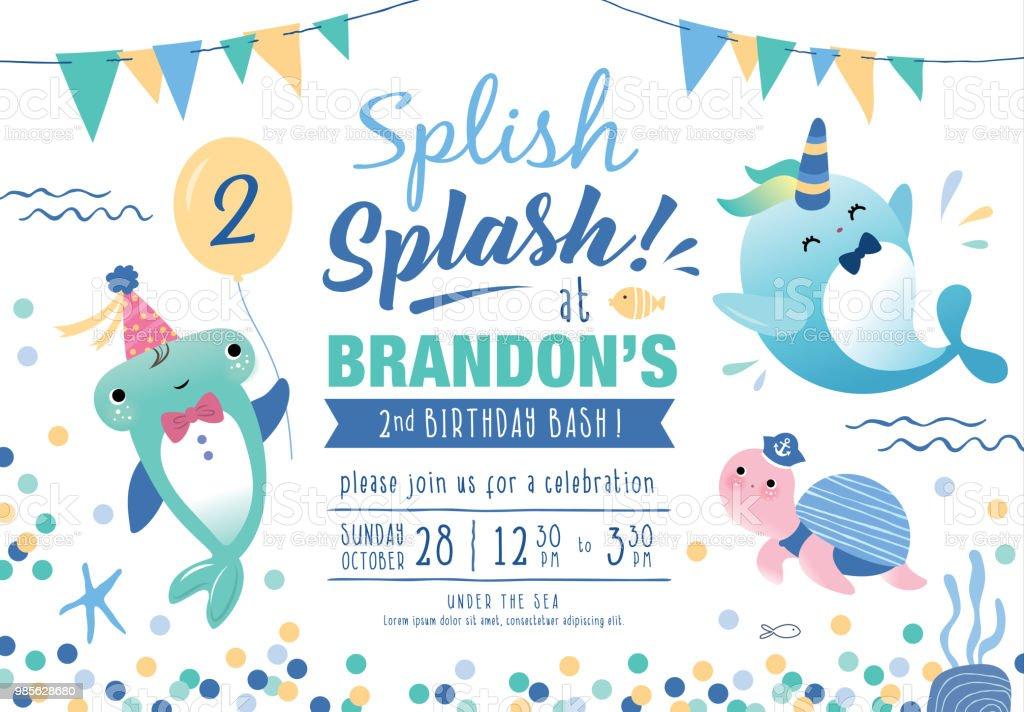 Under The Sea Birthday Party Invitation Card Stockowe