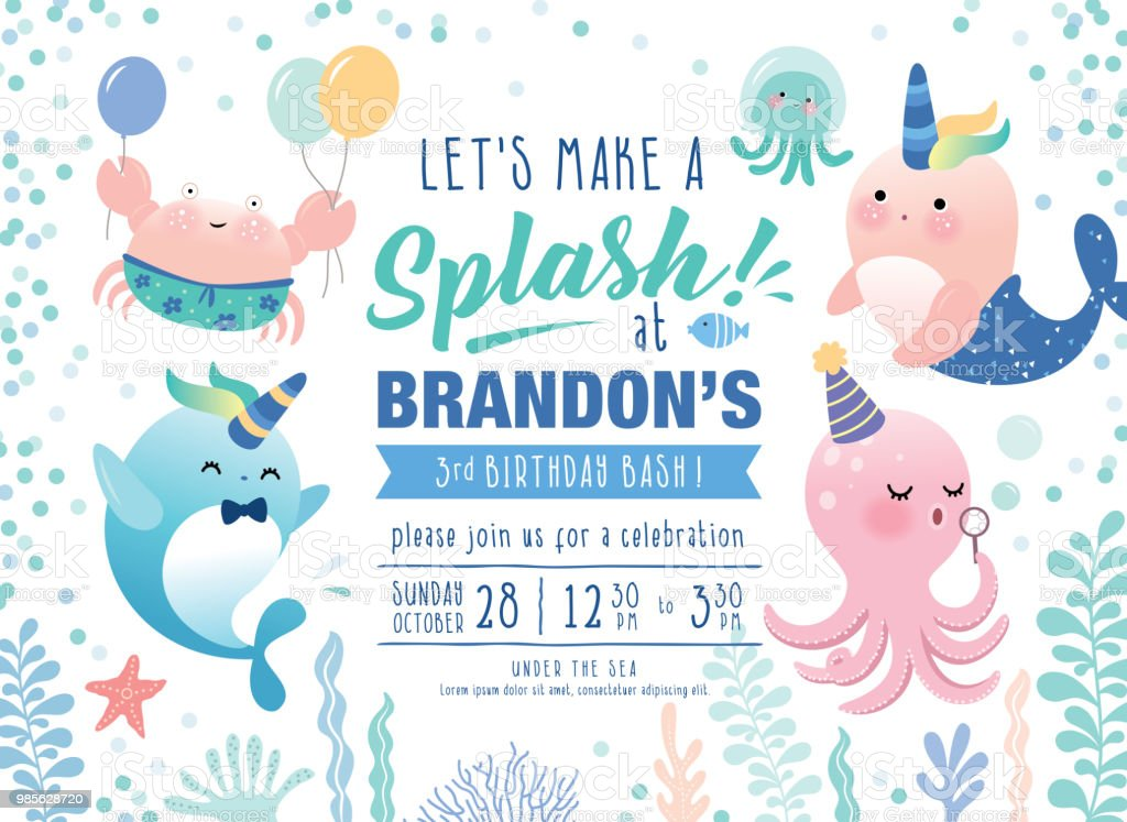 Under the sea birthday party invitation card stock vector art more under the sea birthday party invitation card royalty free under the sea birthday party invitation filmwisefo
