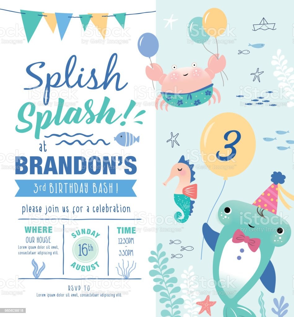 under the sea birthday party invitation card stock vector art more