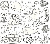 A doodle page of sea creatures.