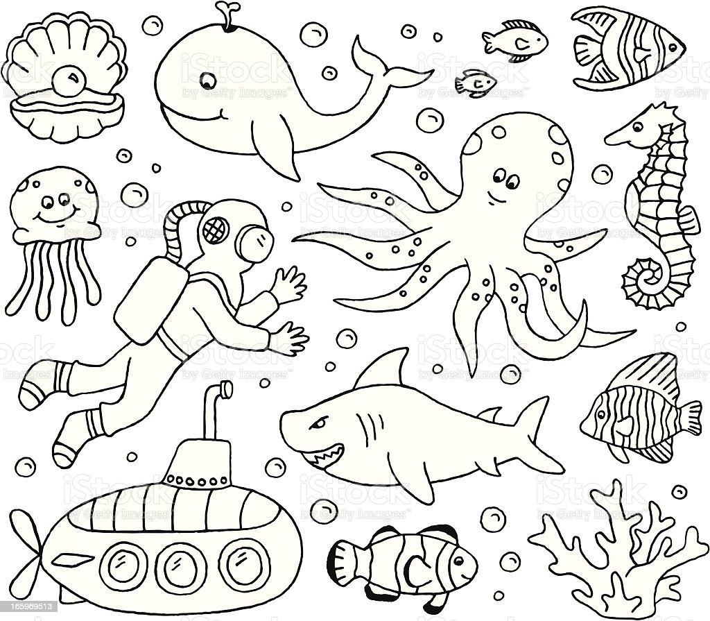 Under the Sea Doodles vector art illustration