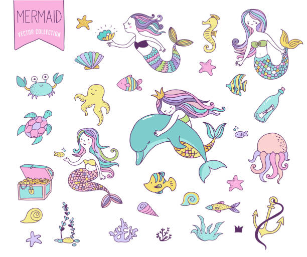 Under the sea - little mermaid, fishes, sea animals and starfish, vector collection vector art illustration