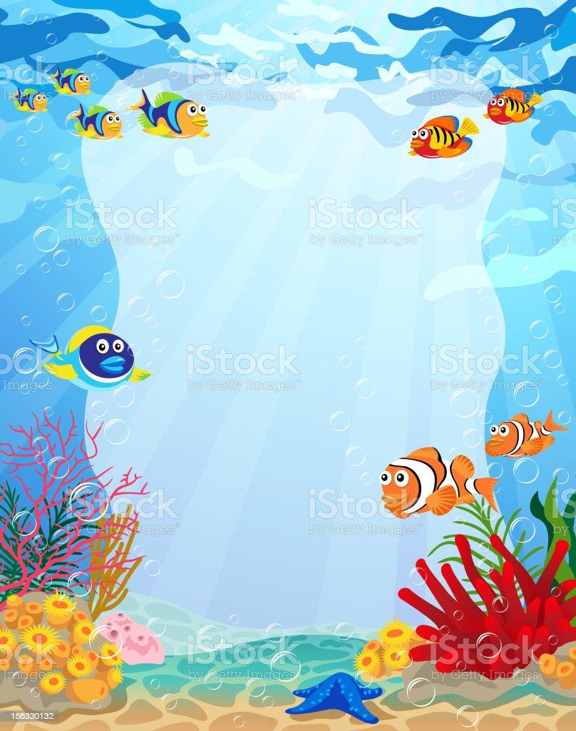 아래에서 복사 공간이 바다빛 포스터 벡터 아트 일러스트