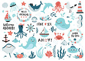 Under the sea set - cute whale, narwhal, ship, lighthouse, anchor, marine plants and wreaths, quotes and other.  Perfect for scrapbooking, greeting card, party invitation, poster, tag, sticker kit. Vector illustration.