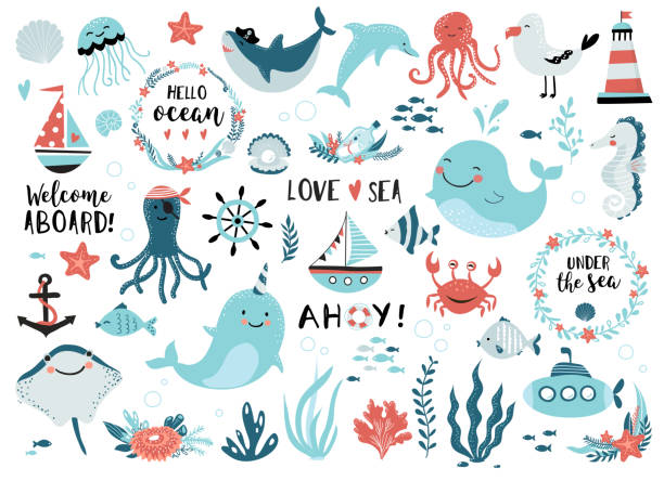 Under the sea set. Under the sea set - cute whale, narwhal, ship, lighthouse, anchor, marine plants and wreaths, quotes and other.  Perfect for scrapbooking, greeting card, party invitation, poster, tag, sticker kit. Vector illustration. marine life stock illustrations