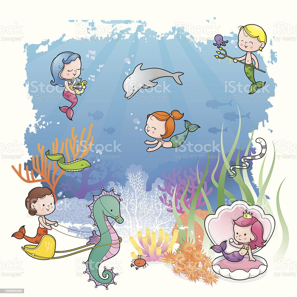 Under the sea with mermaid kids royalty-free stock vector art