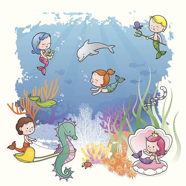 Under the sea with mermaid kids vector art illustration