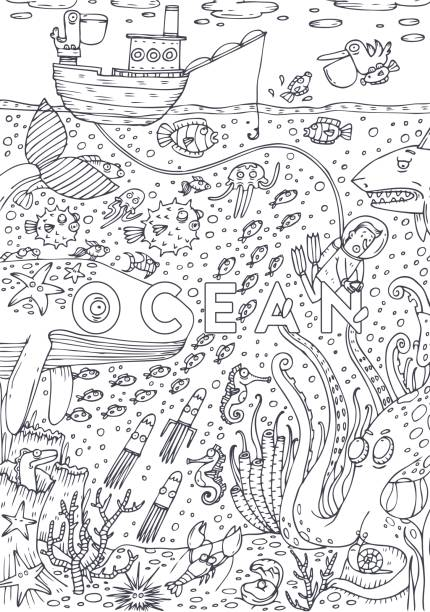 Royalty Free Coloring With Underwater Landscape Clip Art