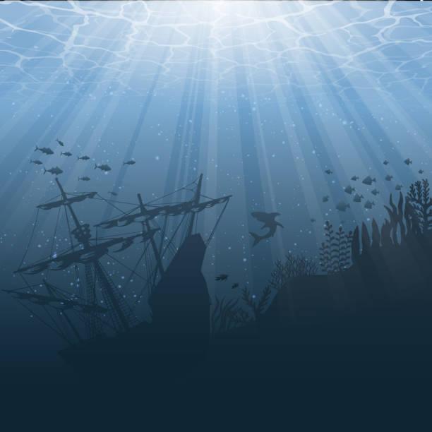 stockillustraties, clipart, cartoons en iconen met onder water wereld achtergrond - ocean under water