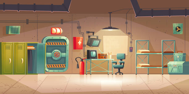 Underground bunker empty bomb shelter control room Underground bunker, empty bomb shelter control room, headquarters base for survival. Secret scientific laboratory command post with control panel, furniture, radio station cartoon vector illustration bomb shelter stock illustrations