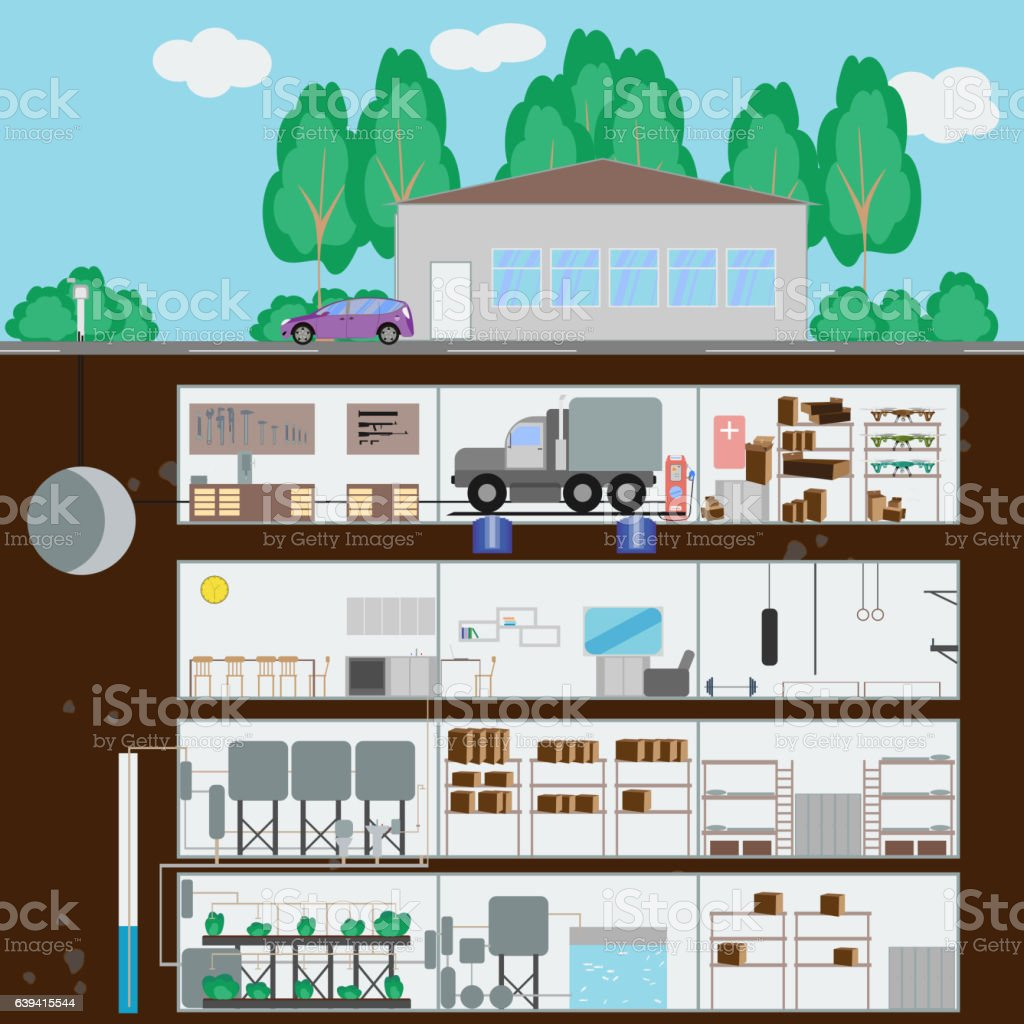 Underground bunker. Many parts of autonomous survival. vector art illustration