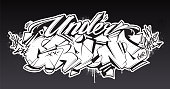 Underground Graffiti Lettering Vector Art. Hand-drawn wild style graffiti letters. Black and white version. Vector illustration.