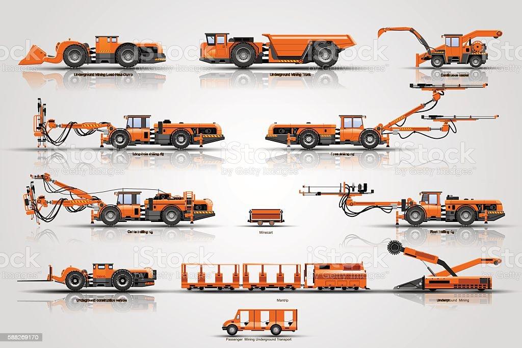 Underground mining machines vector art illustration