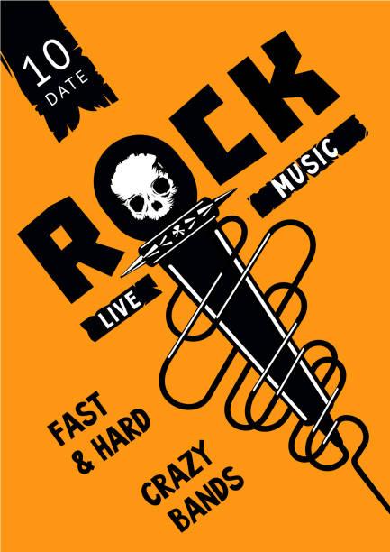 bildbanksillustrationer, clip art samt tecknat material och ikoner med underjordiska part. rock affisch mall med mikrofon och skalle. - hip hop poster