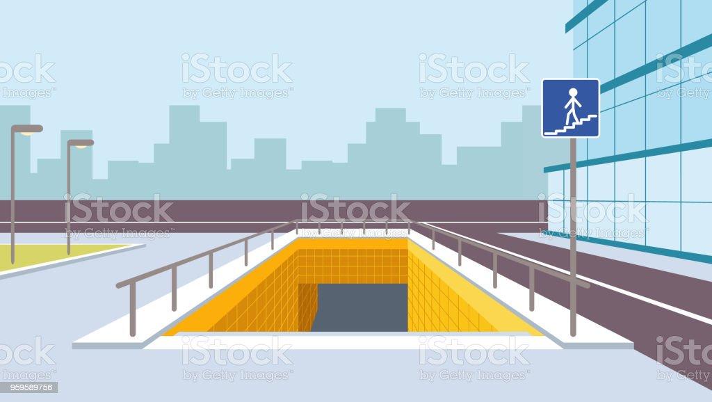 地下横断歩道の視点ベクトル図で...