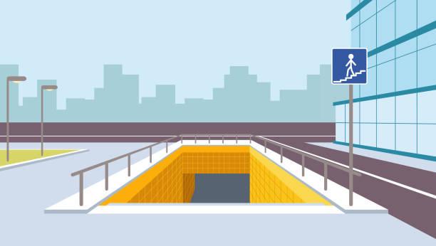 Underground pedestrian crossing perspective vector illustration. City view vector art illustration