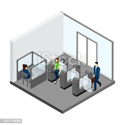 Underground entrance with people turnstiles and tickets isometric vector illustration