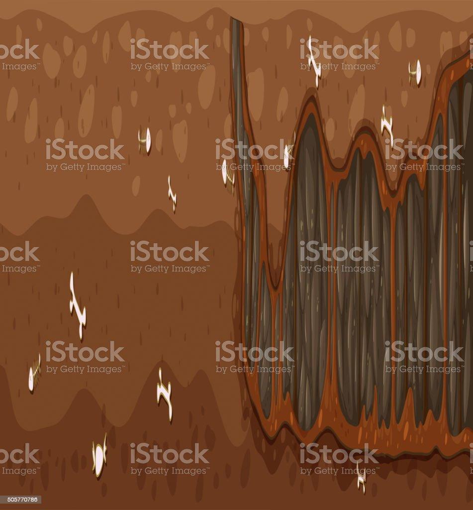 Underground scene with bones and holes vector art illustration
