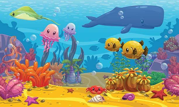 水中の風景 ベクターアートイラスト