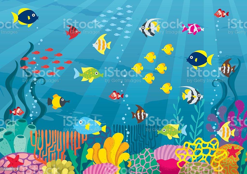 Undersea vector art illustration