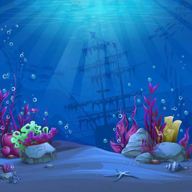 Undersea world in blue theme Undersea world in blue theme. Marine Life Landscape - the ocean and the underwater world with different inhabitants. For design websites and mobile phones, printing. underwater stock illustrations