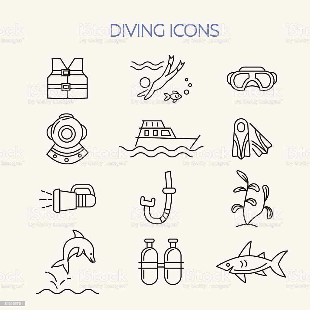 Underwater activity vector icons vector art illustration