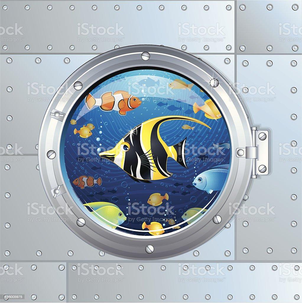 Underwater aquarium porthole vector art illustration
