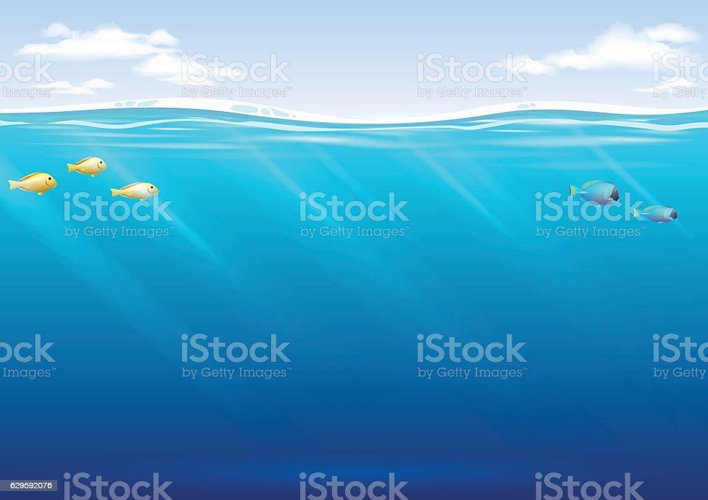 Underwater background in vector graphics vector art illustration