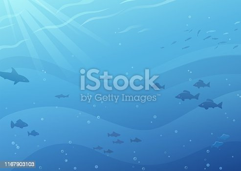 Undersea vector background with space for text.