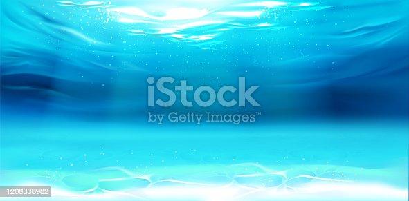 istock Underwater background, water surface, ocean, sea 1208338982
