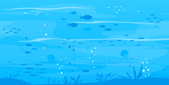 Underwater background with fish silhouettes clipart