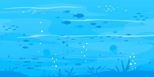 podwodne tło z sylwetkami ryb - rybactwo stock illustrations