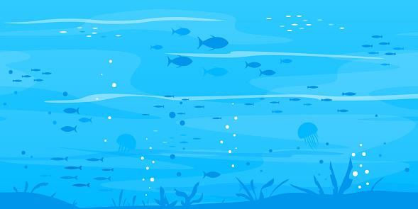 Fond Sousmarin Avec Des Silhouettes De Poissons Vecteurs libres de droits et plus d'images vectorielles de Aquarium - Établissement pour animaux en captivité