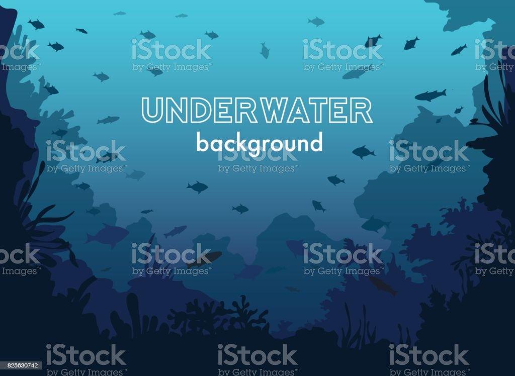 물고기와 바다 식물과 산호와 수 중 배경 벡터 아트 일러스트