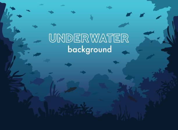 Underwater Background with Fishes and Sea plants and Corals Underwater Background with Fishes and Sea plants and Corals marine life stock illustrations