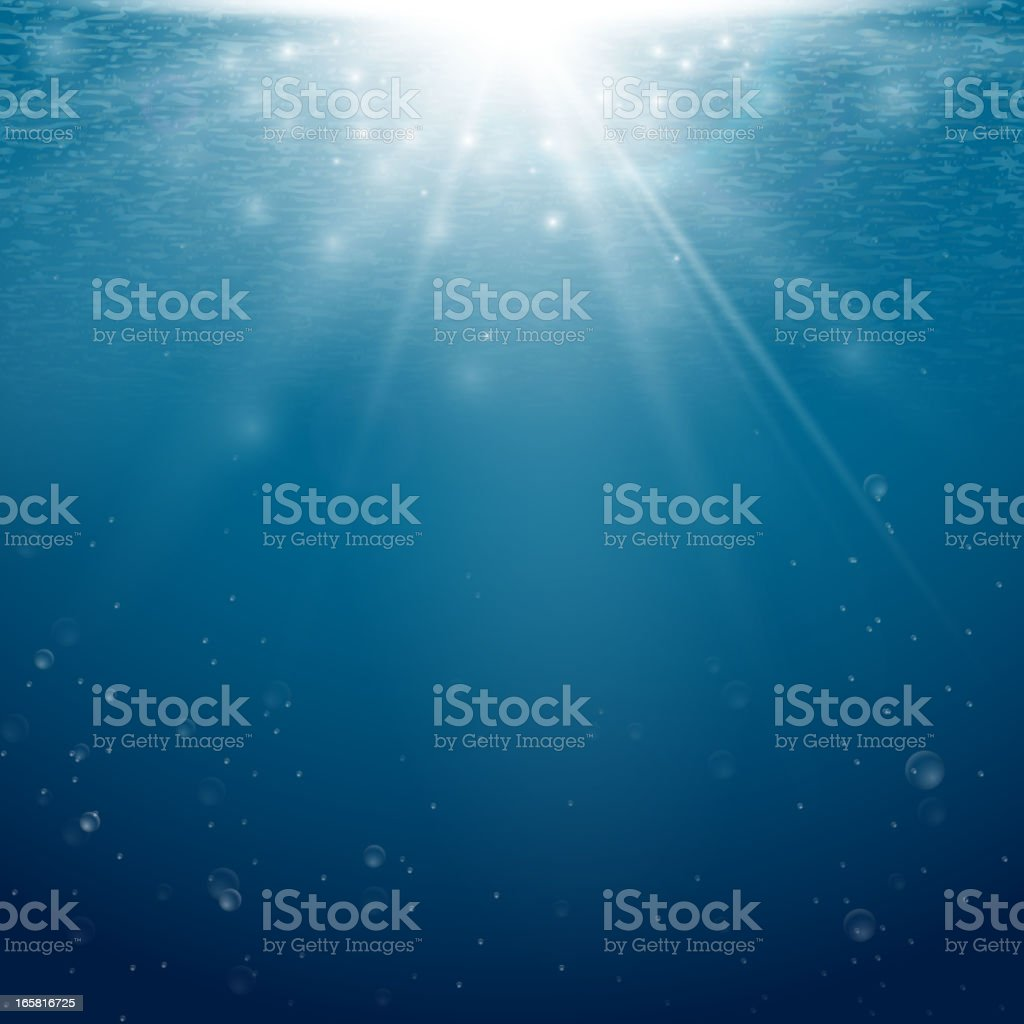 Underwater background with light coming from the surface vector art illustration