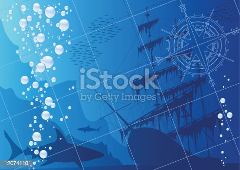 Underwater background with sharks, old ship and compass rose.