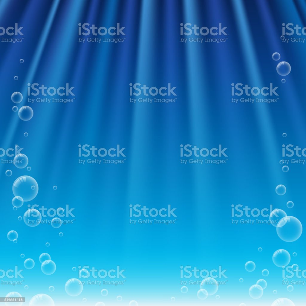 Underwater background with sunbeams and bubbles. vector art illustration